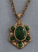 Vintage Signed Miracle Pendant on Chain - faux Malachite stones